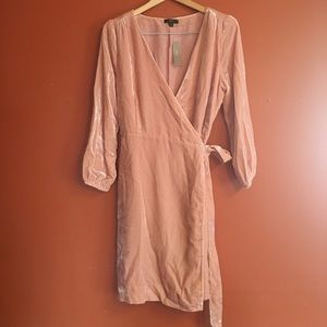 NWT J.Crew mini pink wrap velvet dress size 12